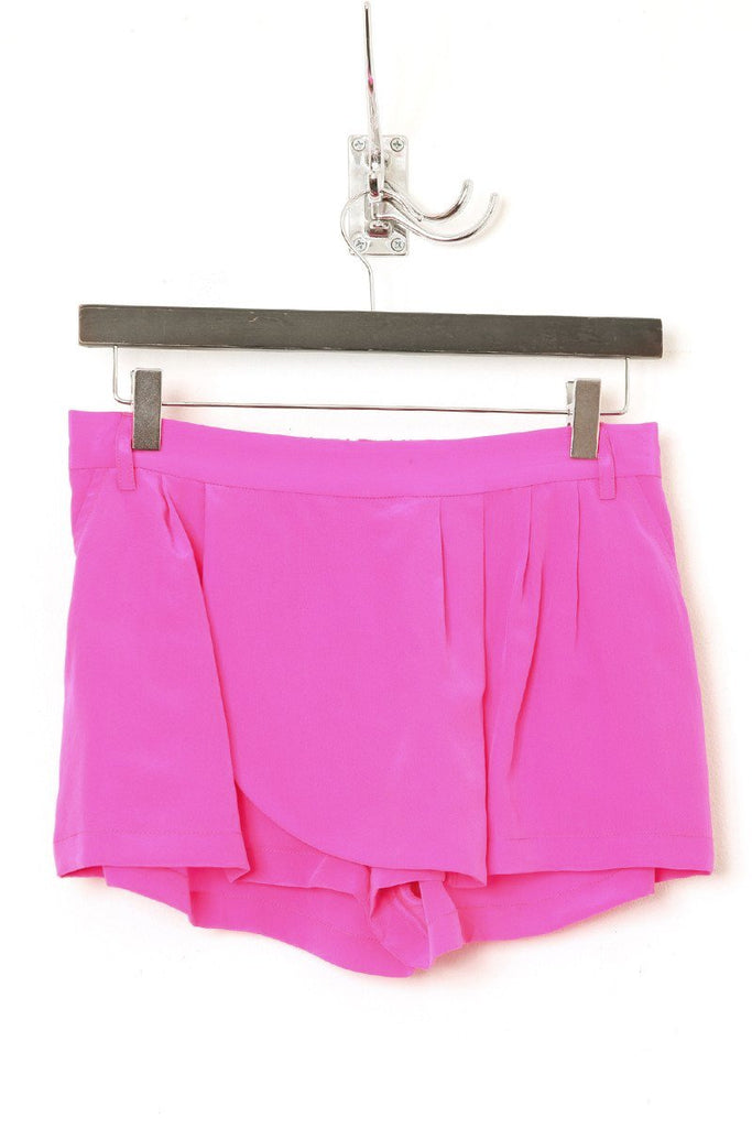 UNCONDITIONAL SS19 Hot Pink silk crepe mini skorts shorts