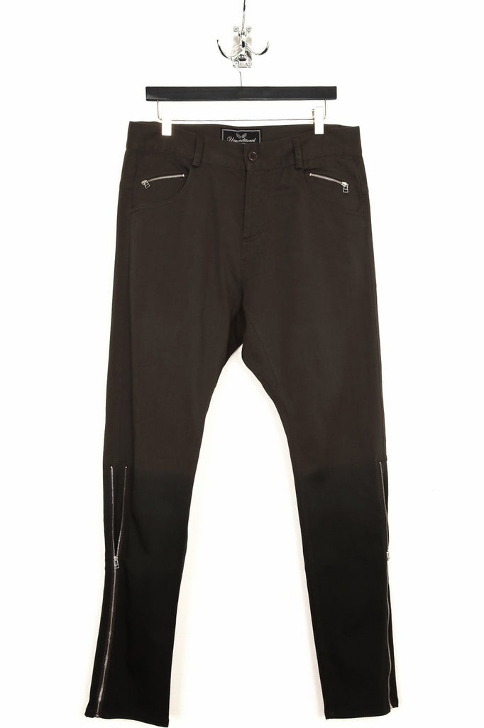 UNCONDITIONAL SS19 Military Grey dip-dyed drop crotch side zip jeans