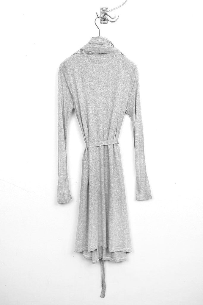 UNCONDITIONAL Flannel Grey long sleeved drape front dress with self belt
