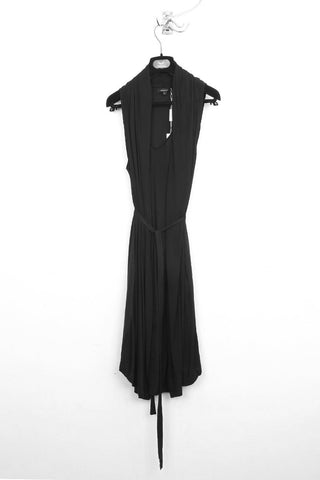 UNCONDITIONAL SS19 Washed Black heavy silk crepe kimono wrap dress