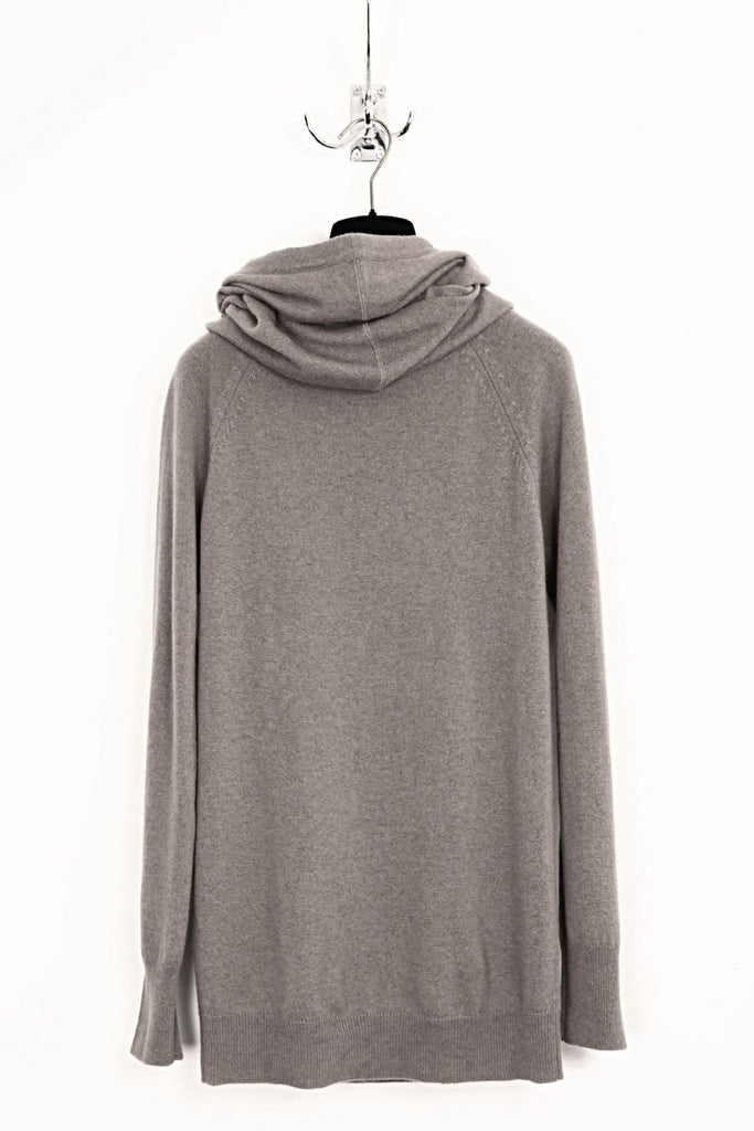 UNCONDITIONAL TAUPE CASHMERE DRAPED FUNNEL NECK JUMPER.