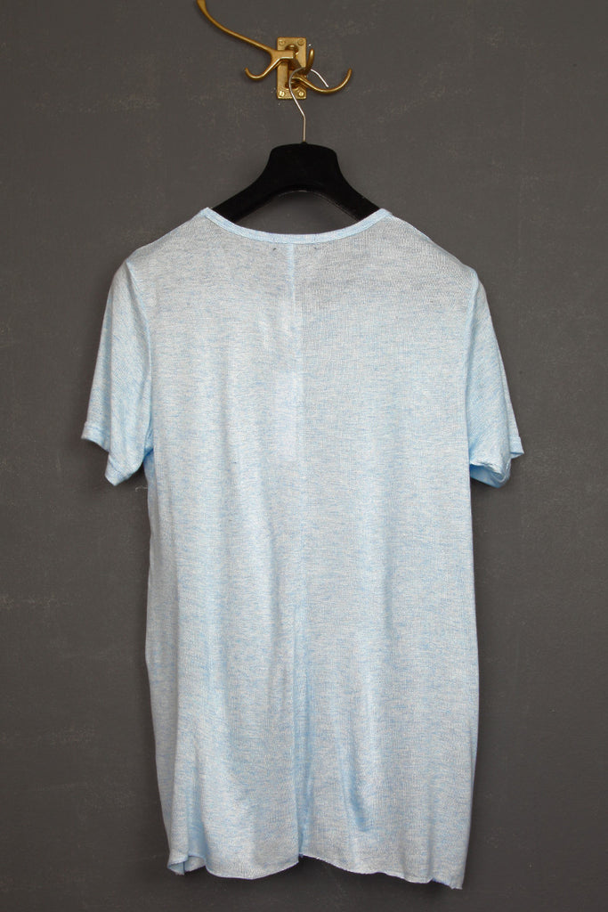 UNCONDITIONAL pale blue loose knit rayon crew neck t-shirt.