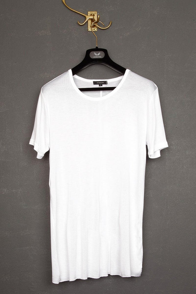 UNCONDITIONAL SS19 White loose knit rayon crew neck T-shirt.