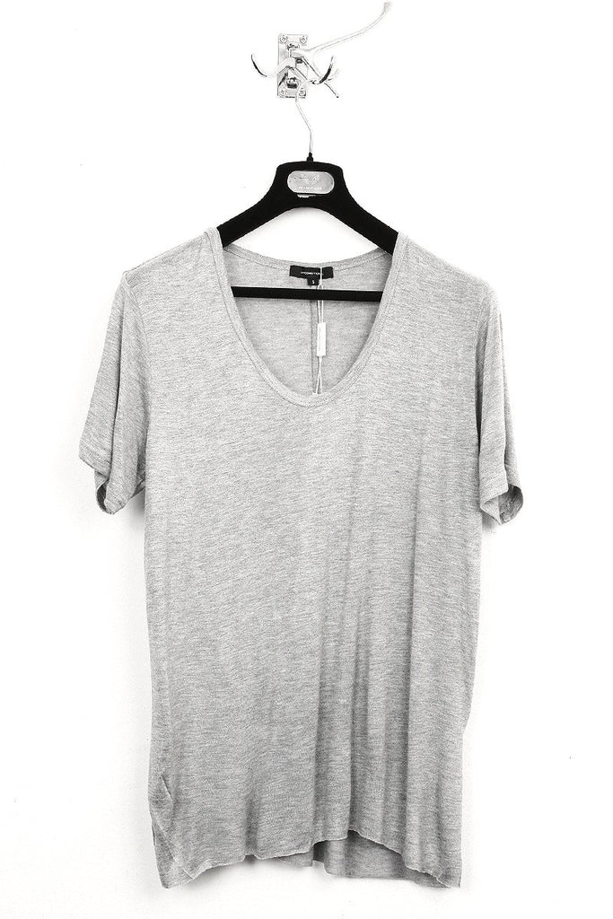 UNCONDITIONAL flannel loose knit rayon scoop neck t-shirt.