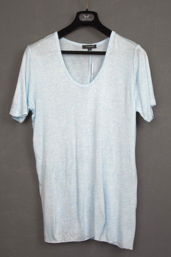 UNCONDITIONAL pale blue loose knit rayon scoop neck t-shirt.