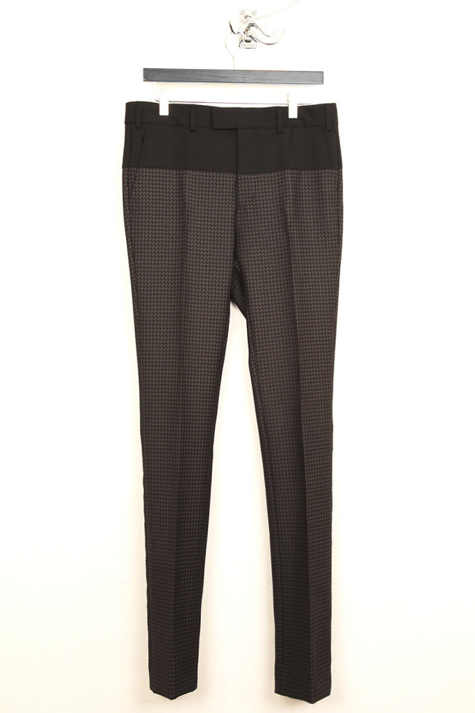 UNCONDITIONAL Brown black jacquard bottom and black top paneled cigarette trousers.