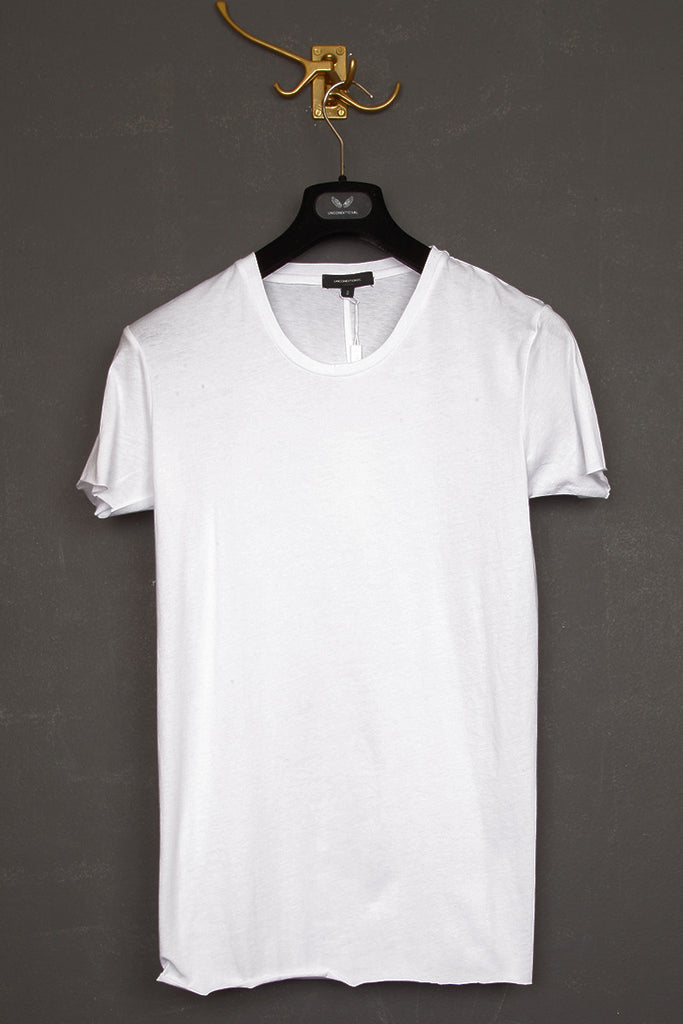 UNCONDITIONAL White basic slim fit crew neck back seam T