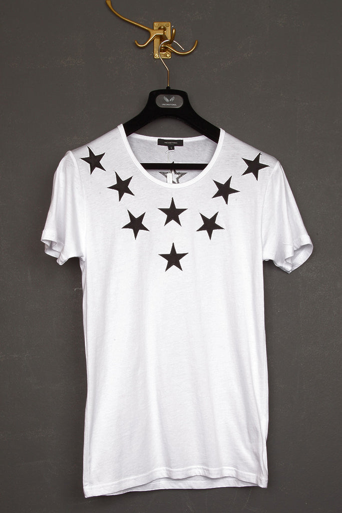 UNCONDITIONAL White T shirt with black silk stars.