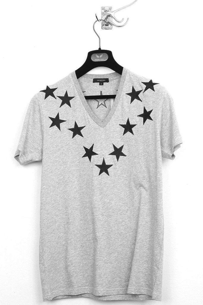 UNCONDITIONAL Flannel Grey Signature V-neck T with black silk stars.