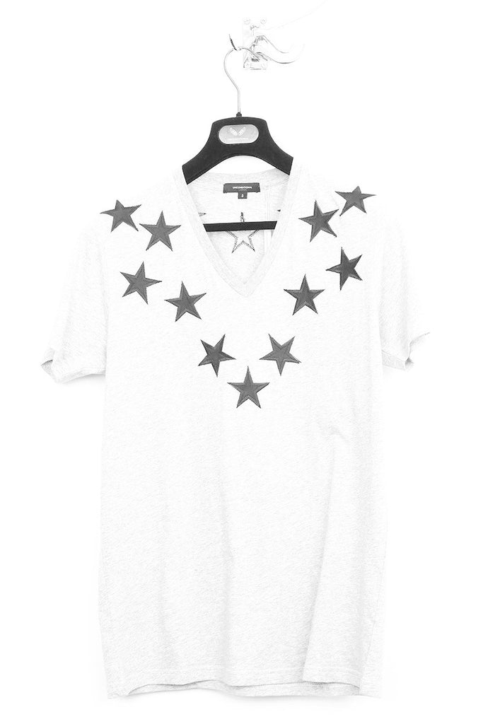 UNCONDITIONAL White V neck t-shirt with black silk appliqued stars.