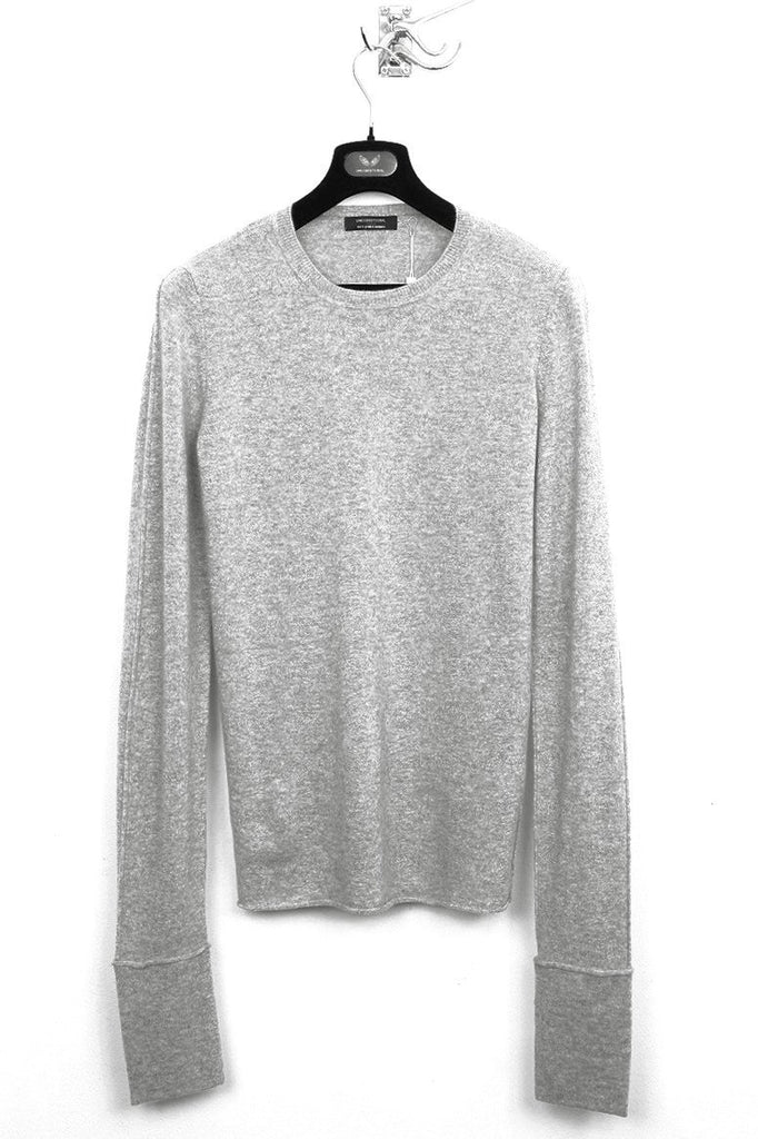UNCONDITIONAL flannel grey cashmere extra long sleeved cashmere with deep foldback cuffs . code cashm3e-17