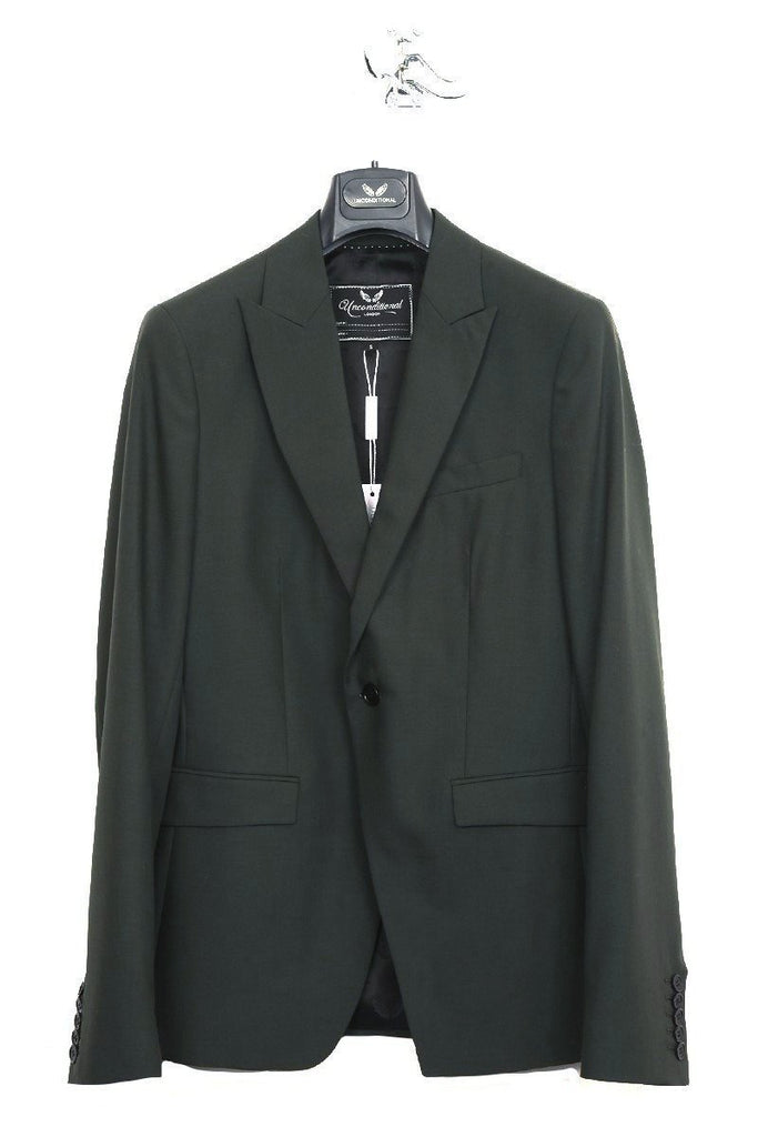 UNCONDITIONAL dark green pure wool one button jacket.