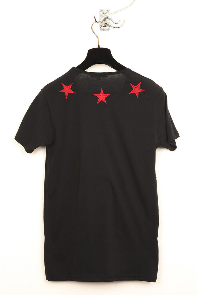UNCONDITIONAL black T shirt with blood red silk stars.