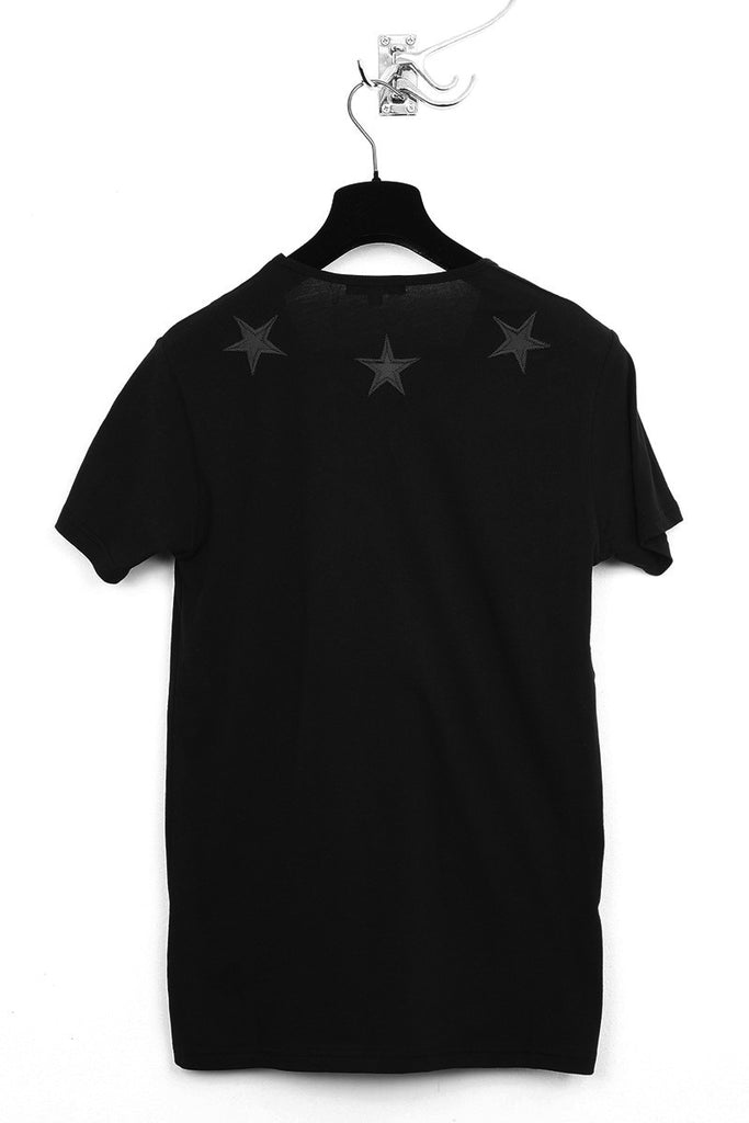UNCONDITIONAL black T shirt with black silk stars.