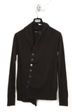 UNCONDITIONAL Black funnel neck cardigan with stepped hem.