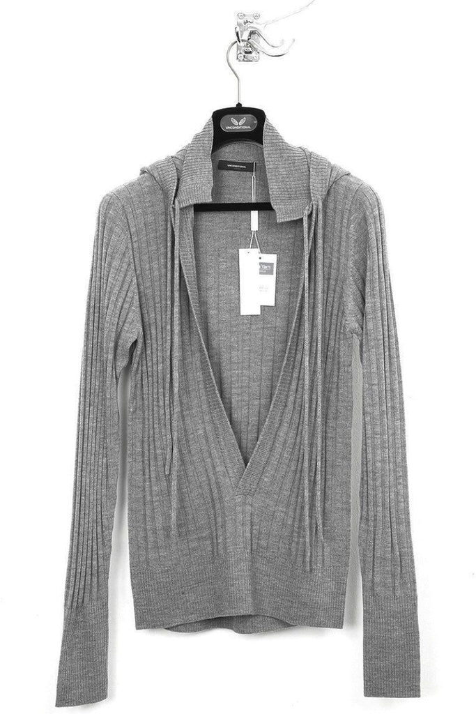 UNCONDITIONAL Flannel Grey rib knit hooded deep plunge front jumper.