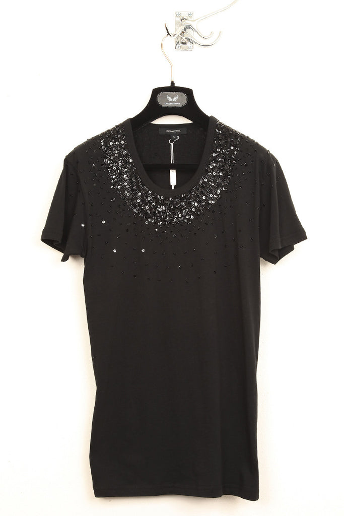 UNCONDITIONAL black crew neck T-shirt with black hand beading.