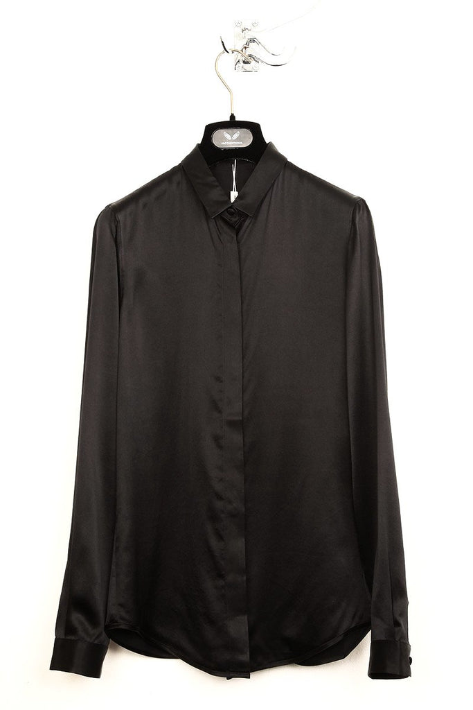 "UNCONDITIONAL'S 'PERFECT BLOUSE "" -  black silk satin long sleeved blouse."