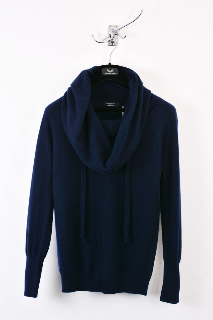 UNCONDITIONAL Classic navy cotton knit funnel neck hoodie