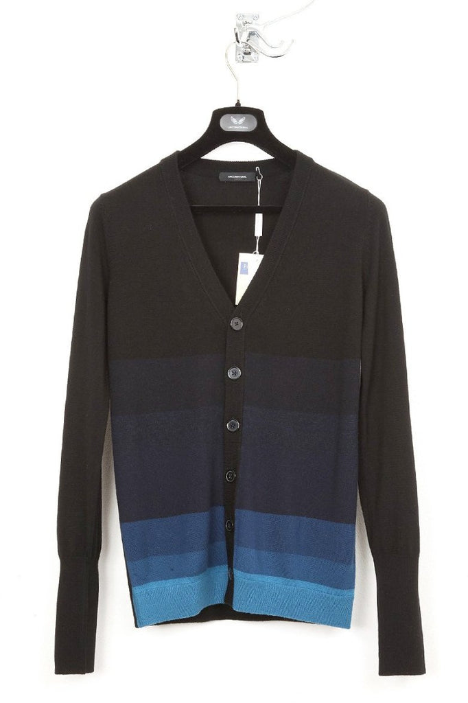 UNCONDITIONAL black and blues merino cardigan with gradient stripes.