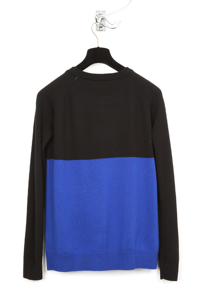 UNCONDITIONAL black and azure heavy crew neck jumper with contrast white pockets.