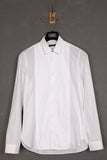 UNCONDITIONAL White pique cotton with contrast white plisse bib front shirt.
