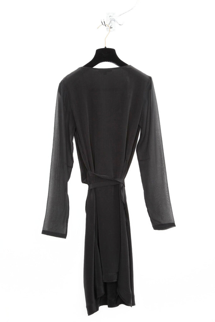 UNCONDITIONAL Black cowl neckline long sleeved silk dress