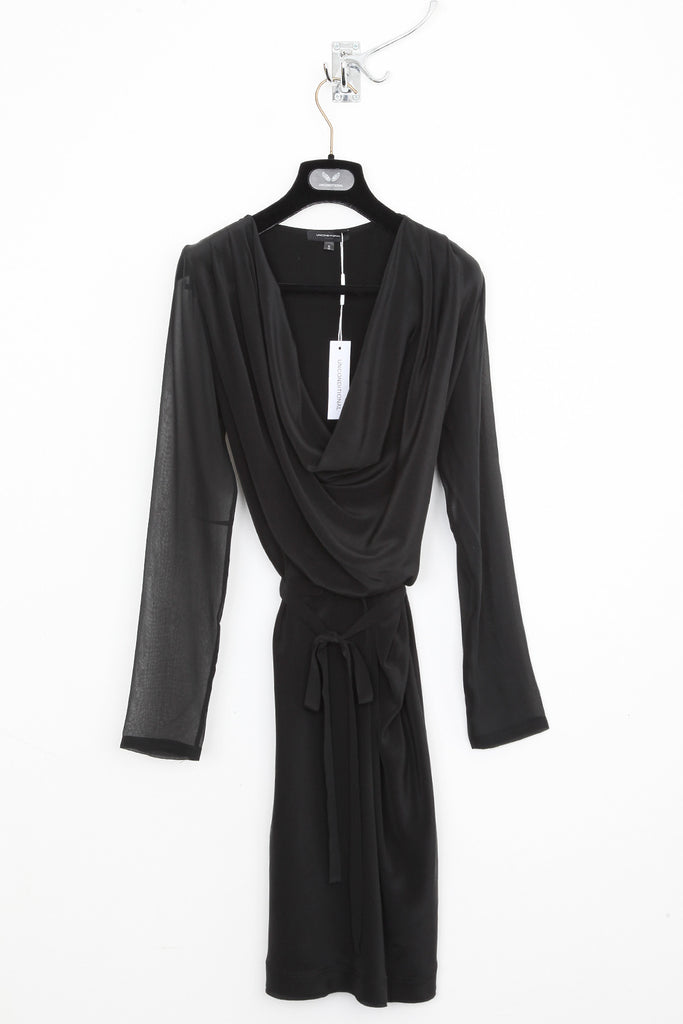 UNCONDITIONAL Black cowl neck silk dress with long sheer sleeves