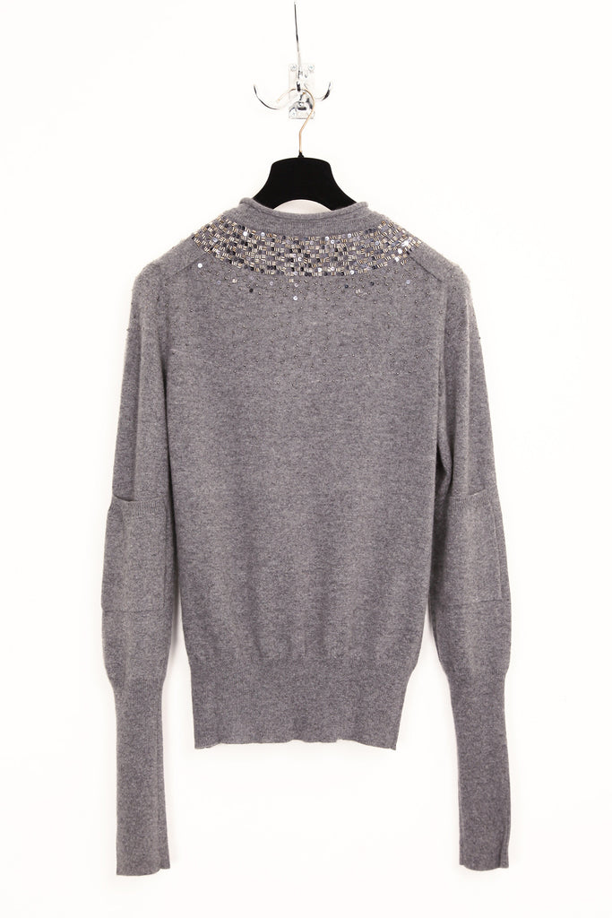 UNCONDITIONAL Slate grade A cashmere V-neck jumper with pewter hand beading