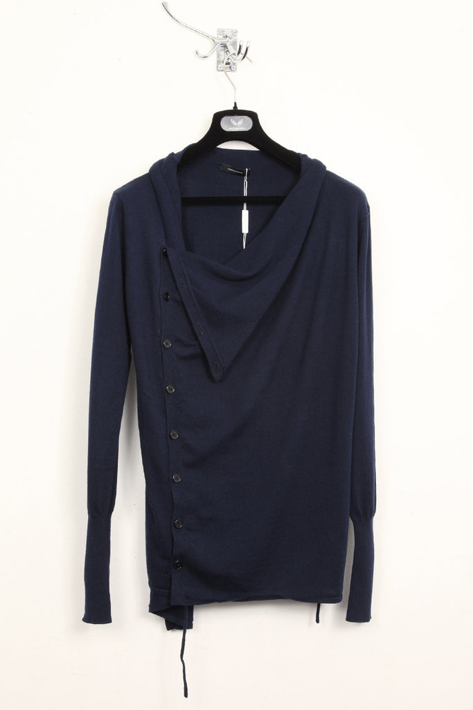 UNCONDITIONAL navy drape placket cardigan.
