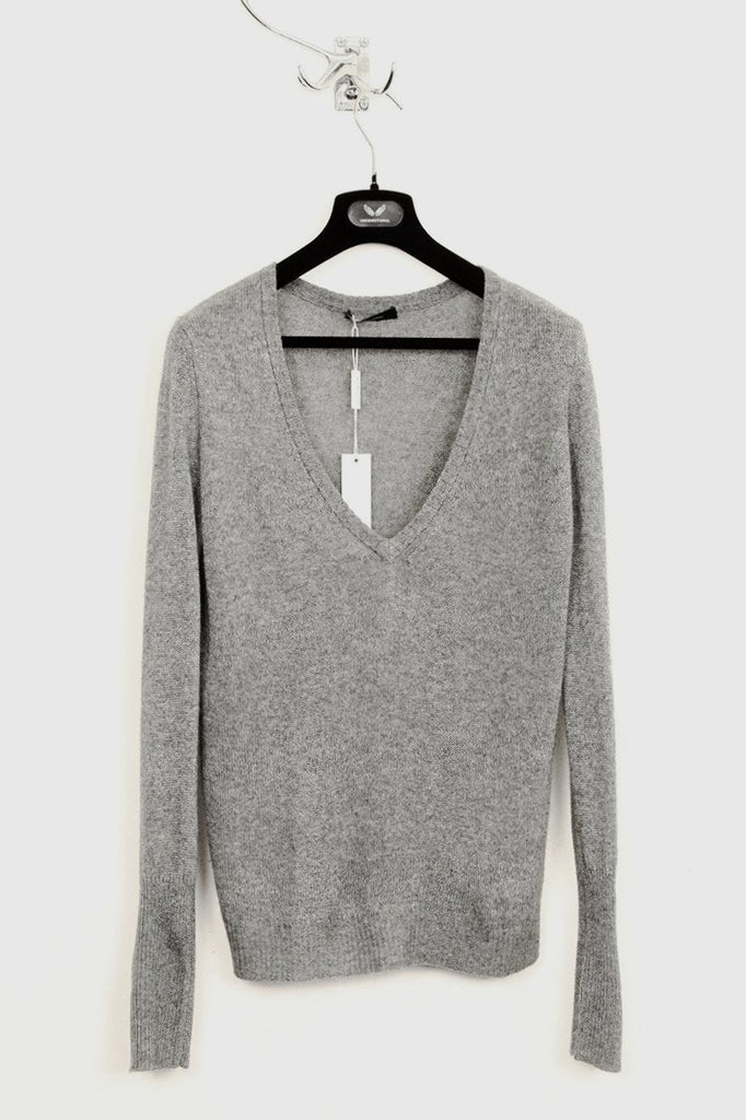UNCONDITIONAL Grey deep V Neck loose knit silk cashmere jumper.