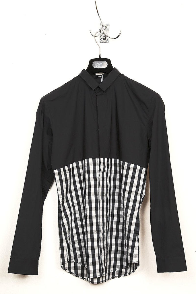 UNCONDITIONAL solid black with black and white check longer panelled shirt.