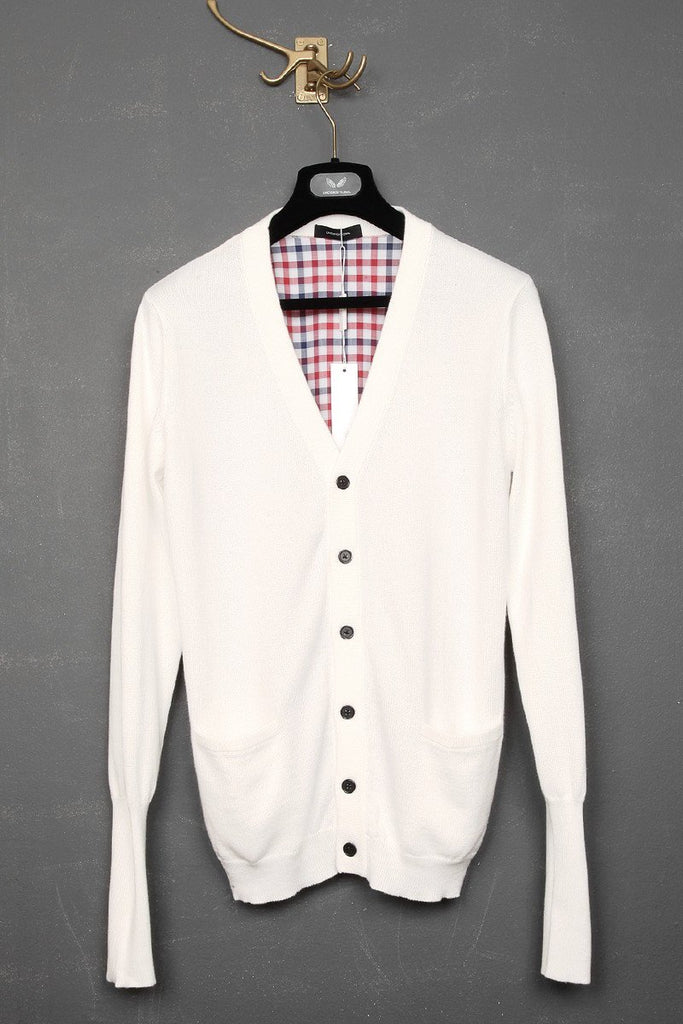UNCONDITIONAL White cotton knitted cardigan with check back.