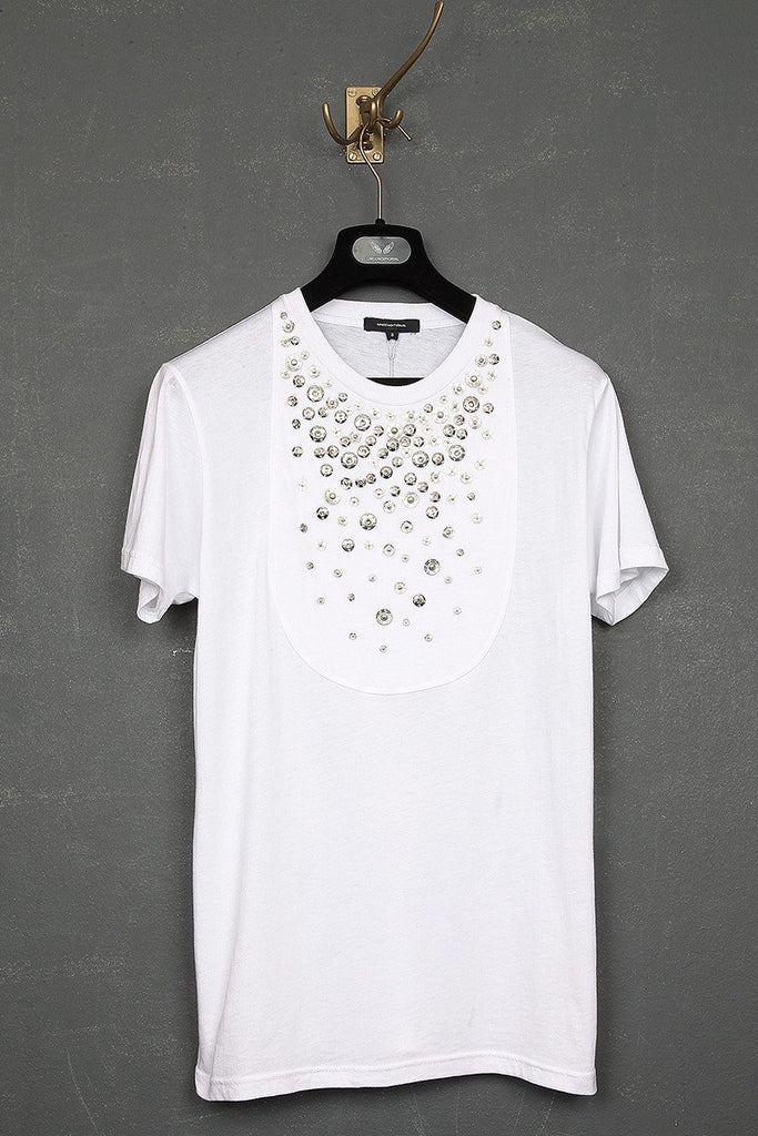 UNCONDITIONAL SS19 White bib t-shirt embellished with silver poppers