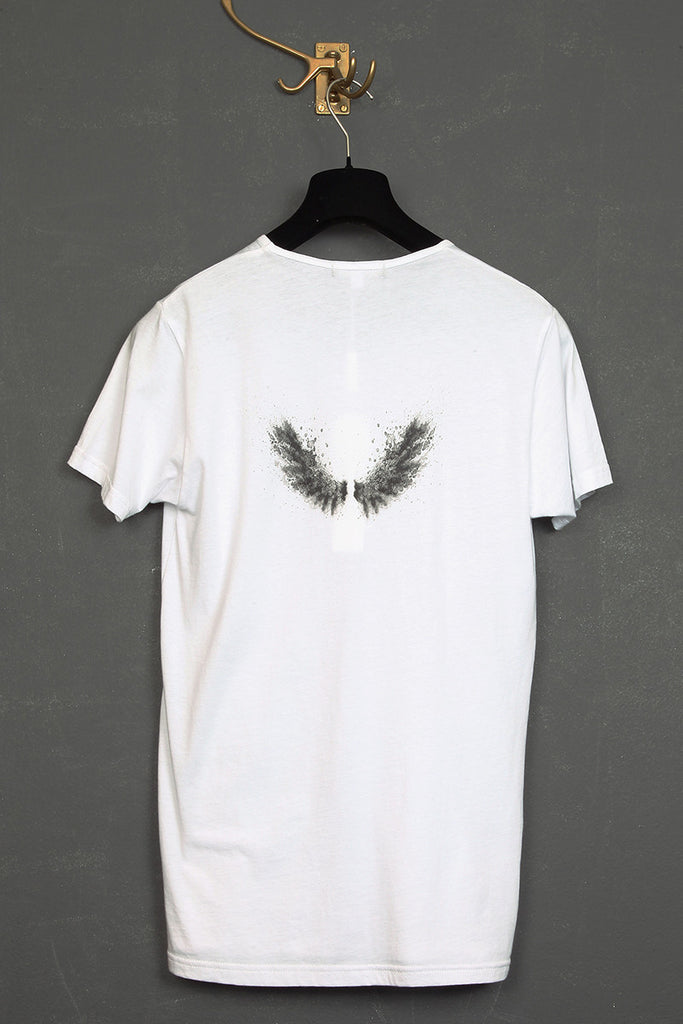 UNCONDITIONAL white round neck tee with bunny skull and wings print