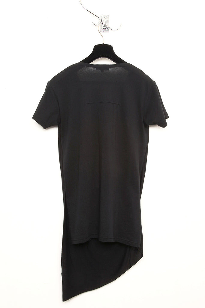 UNCONDITIONAL Black asymmetric drape double front T-shirt.