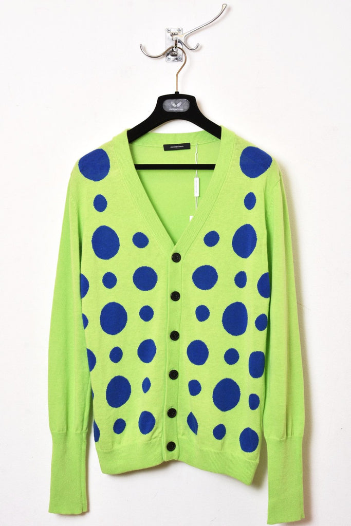 UNCONDITIONAL Leaf lime green with blue polka dot cotton - linen  blend cardigan.