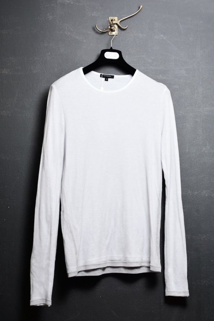 UNCONDITIONAL All white long line layered mesh long sleeved Tshirt. code : FJ302