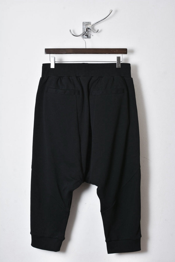 UNCONDITIONAL Black with double zips drop crotch shorts with seam detail