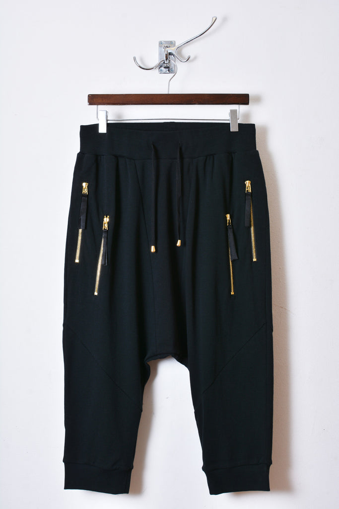UNCONDITIONAL's new black with double GOLD zips drop crotch shorts with new seam detail.