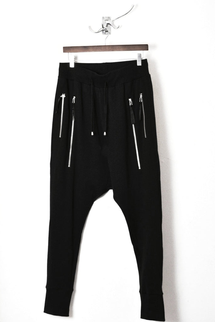 UNCONDITIONAL Black Long double zip pocket drop crotch trousers with back zips