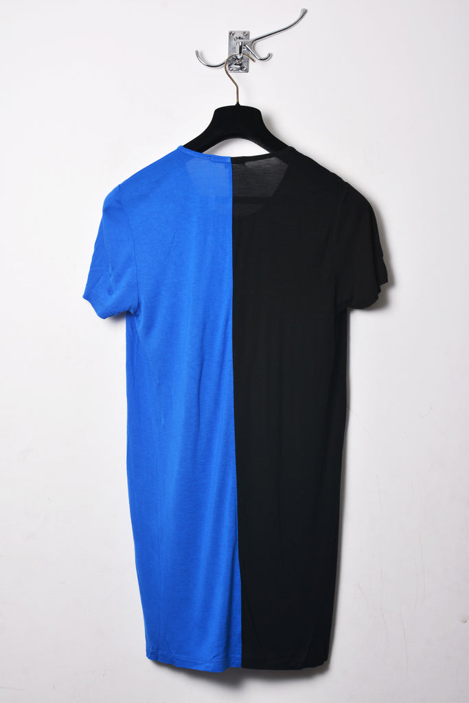 UNCONDITIONAL SS18 Black and Lapis rayon two tone split T-shirt