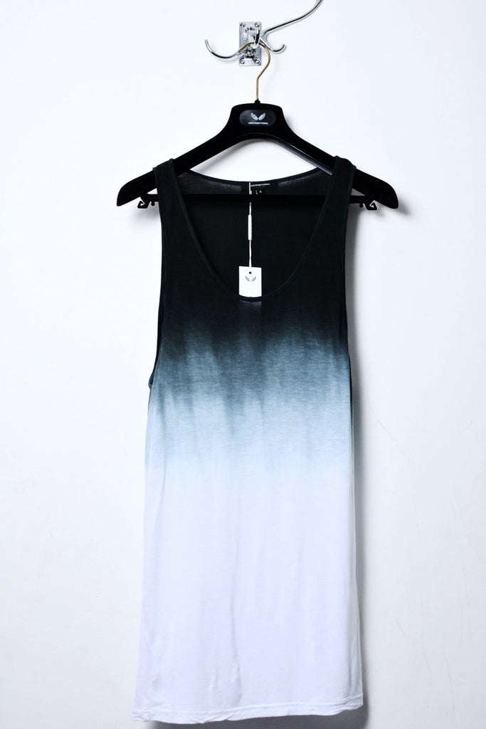 UNCONDITIONAL SS19 Signature White rayon vest with top dip dye.