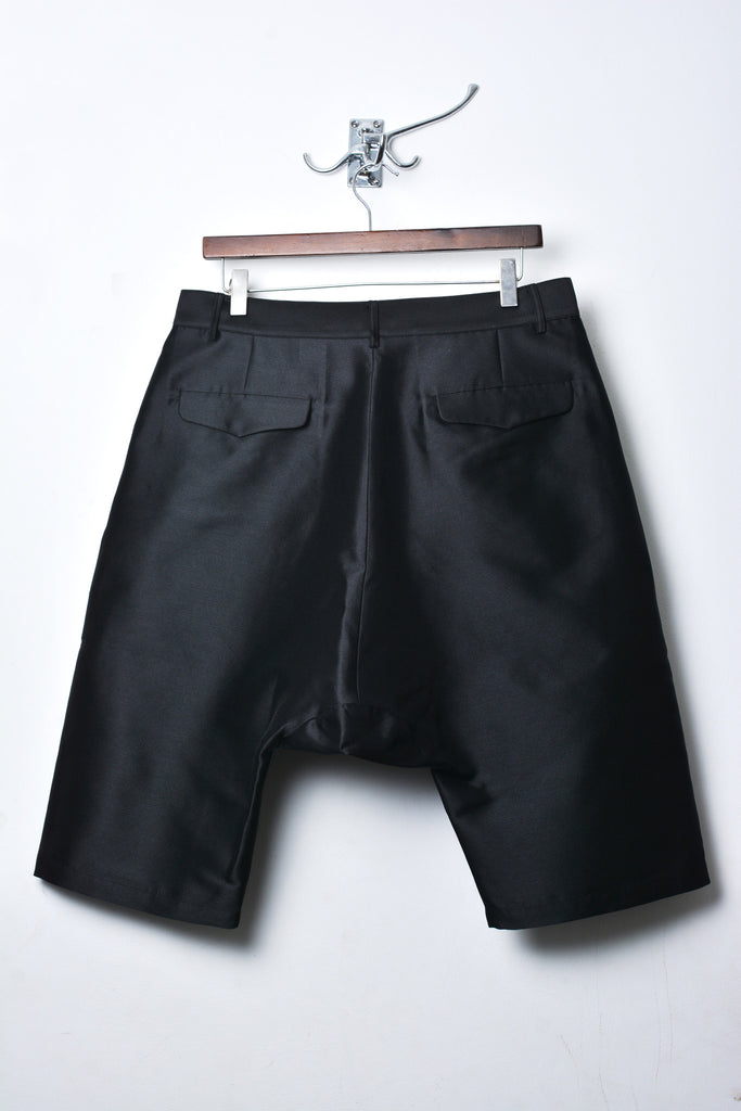UNCONDITIONAL SS19 Black 'couture' silk mix drop crotch shorts