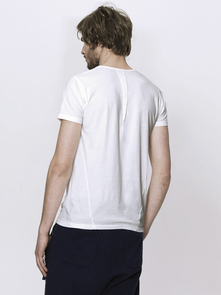 UNCONDITIONAL White crew neck T shirt with front and back neck pleat
