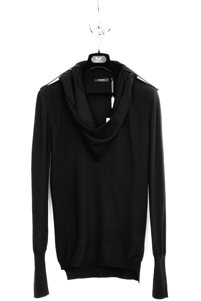 UNCONDITIONAL Black cotton knit 'Ghost Hoodie' knitted  jumper.