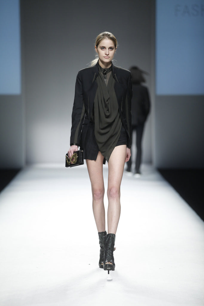 UNCONDITIONAL black and olive cut out back jacket with inserted chiffon seams.