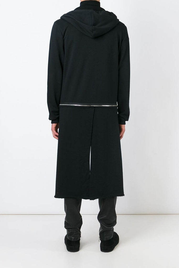 UNCONDITIONAL Black long sleeved sweat shirting tail coat hoodie with zip off tail.