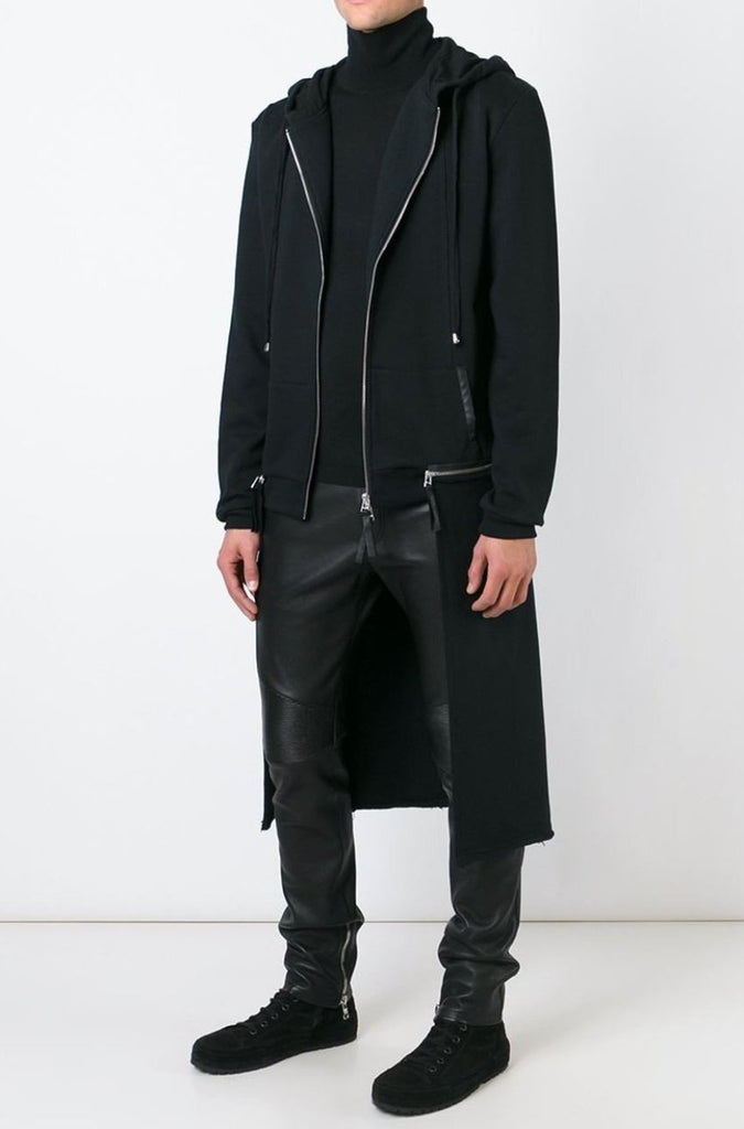 UNCONDITIONAL AW18 Black long sleeved sweat shirting tail coat hoodie with zip off tail.