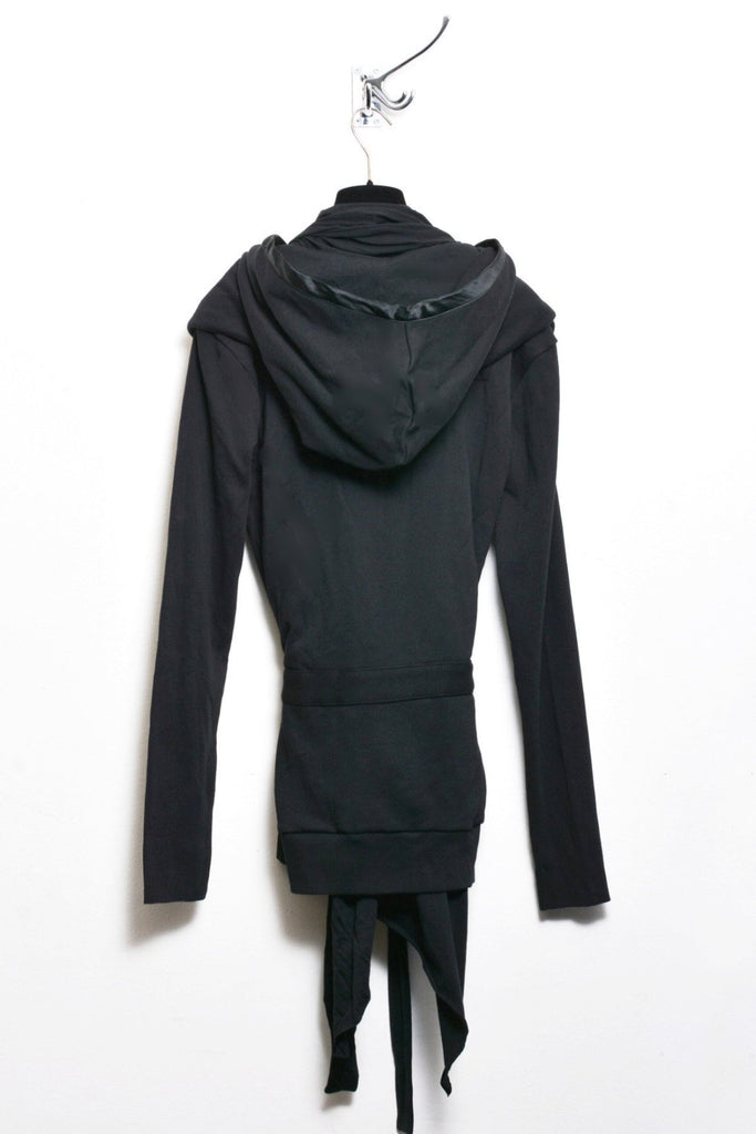 UNCONDITIONAL Black sweat self-belted drape ghost hoodie drape boxers jacket